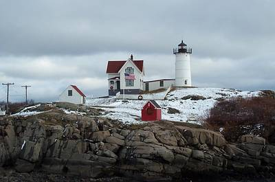 Poster featuring the photograph Nubble Light In December by Barbara McDevitt