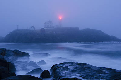 Nubble Light In Foggy Dawn Poster