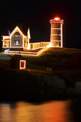 Nubble Light In York Me Cape Neddick Christmas Poster by Toby McGuire