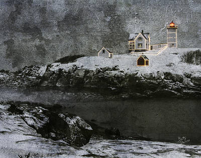 Nubble Light Stormy Night Poster by Betty Denise