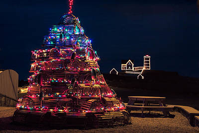 Nubble Lighthouse And Lobster Pot Tree Poster by Jeff Folger