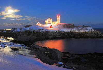 Nubble Lighthouse Holiday Lights And Winter Moon Poster