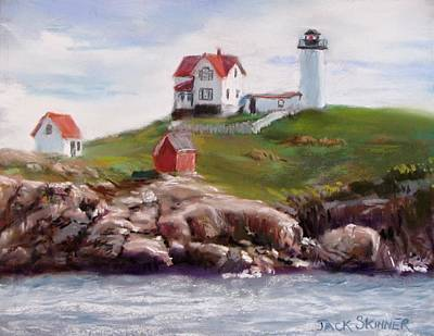 Nubble Lighthouse In Pastel Poster
