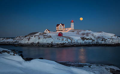 Nubble Lighthouse In Winter Poster
