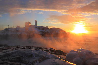 Nubble Lighthouse Sea Smoke Sunrise Poster by John Burk
