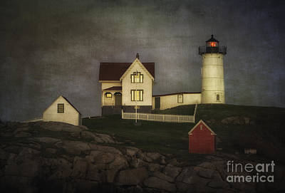 Nubble Lighthouse Texture Poster by Jerry Fornarotto