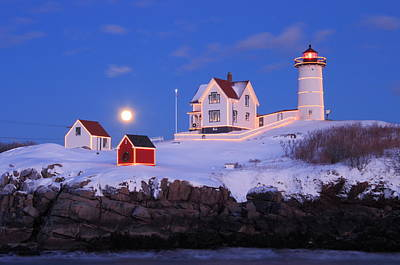 Nubble Lighthouse Winter Moon Poster by John Burk