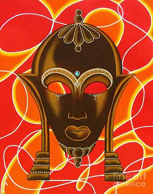 Nubian Modern Mask With Red And Orange Poster by Joseph Sonday
