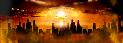 Nuclear Blast Behind City Poster by Panoramic Images