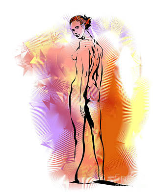 Poster featuring the drawing Nude by Alex Tavshunsky