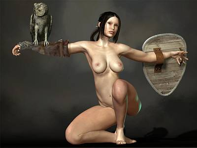 Poster featuring the digital art Nude Athena by Kaylee Mason