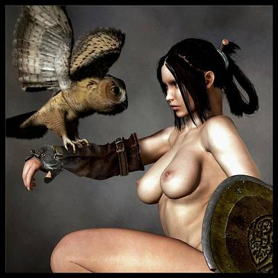 Poster featuring the digital art Nude Athena With Owl And Shield by Kaylee Mason