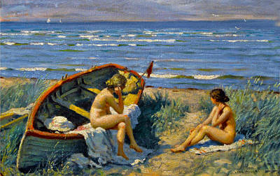 Nude Bathers With A Boat Poster