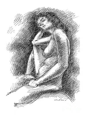 Poster featuring the drawing Nude Female Sketches 3 by Gordon Punt