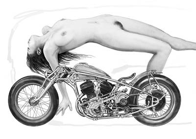 Nude Girl With Motercycle  - 4 Poster by Kim Wang