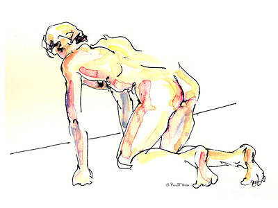 Poster featuring the painting Nude Male Drawings 3w by Gordon Punt