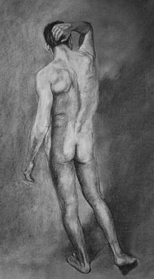 Poster featuring the drawing Nude Male by Rachel Hames