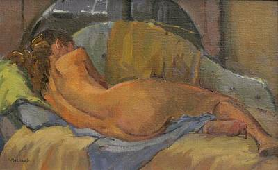 Nude On Chaise Longue Poster by Pat Maclaurin