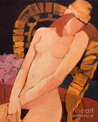 Nude Resting In An Armchair Poster by Lutz Baar