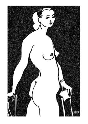 Nude Sketch 4 Poster by Leonid Petrushin