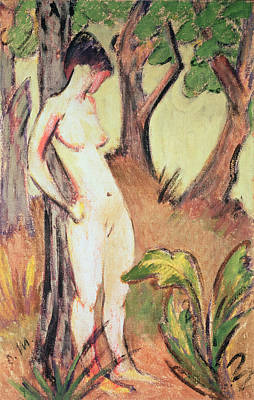 Nude Standing Against A Tree Poster