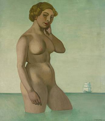 Nude With A Frigate Poster by Felix Edouard Vallotton