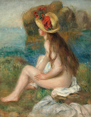 Nude With A Straw Hat Beside The Sea Poster by Pierre Auguste Renoir