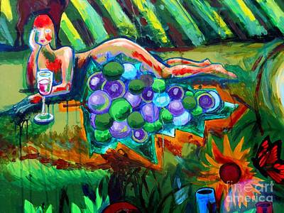 Nude With Grapes Poster by Genevieve Esson