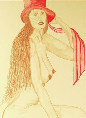 Nude With Red Hat Poster by Rand Swift