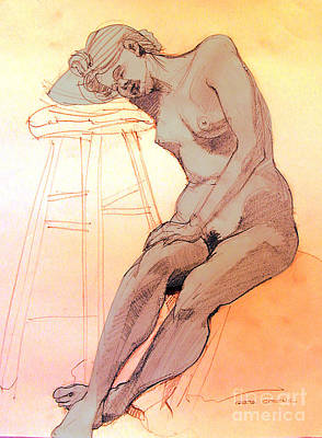 Nude Woman Leaning On A Barstool Poster