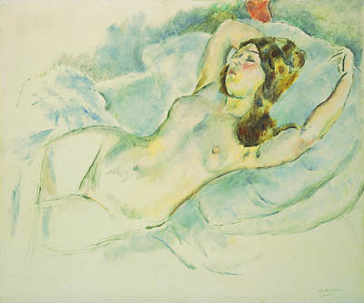 Nude Woman Reclining Poster by Jules Pascin