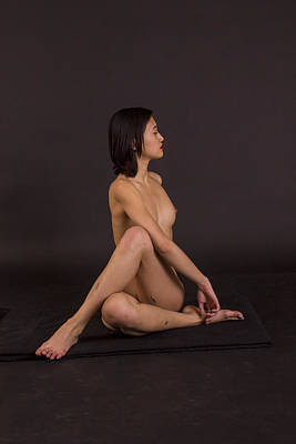 Nude Yoga- Spinal Twist Poster by Stephen Carver
