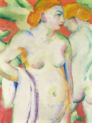 Nudes In Cinnabar Poster by Franz Marc