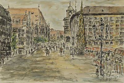Poster featuring the painting Nuernberg Central Market Place With Gothic Fountain by Alfred Motzer
