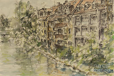 Poster featuring the painting Nuernberg Southern Riverside Of Rednitz by Alfred Motzer