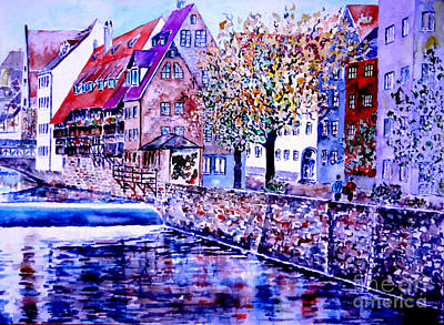 Poster featuring the painting Nuernberg Walkby The Riverside by Alfred Motzer