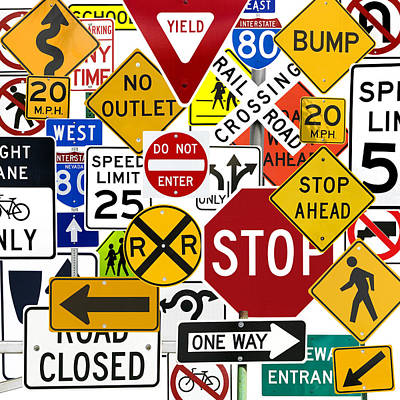 Numerous Traffic Control Signs On White Poster by Russell Shively