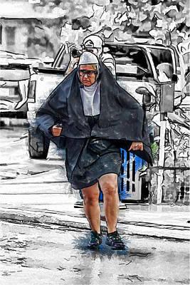 Nun On The Run Poster by John Haldane