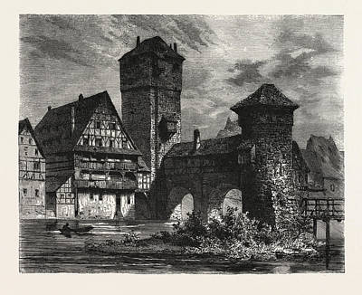Nuremberg Old Prison On The Pegnitz Poster by German School