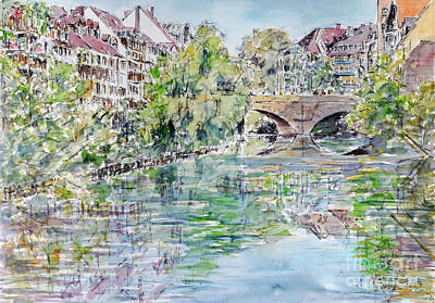 Poster featuring the painting Nuremberg River Pegnitz Watching Charles Bridge by Alfred Motzer