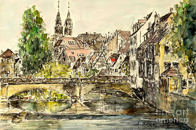 Poster featuring the painting Nuremberg Watching St.laurence Cathedral by Alfred Motzer