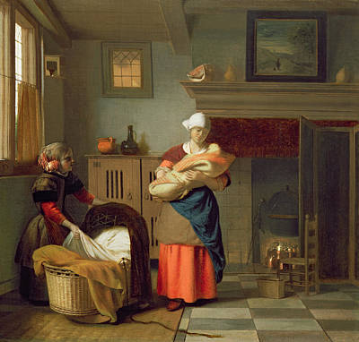 Nursemaid With Baby In An Interior And A Young Girl Preparing The Cradle Poster by Pieter de Hooch