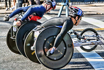 Nyc Marathon Wheelchair Racers Poster