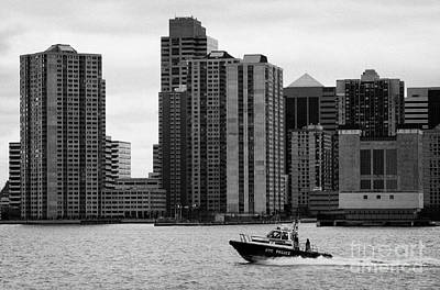 Nyc Police River Boat Going Past New Jersey Nj Shoreline  Poster