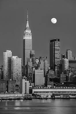 Nyc Skyline Blue Hour Bw Poster by Susan Candelario