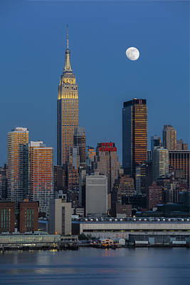 Nyc Skyline Blue Hour Poster by Susan Candelario