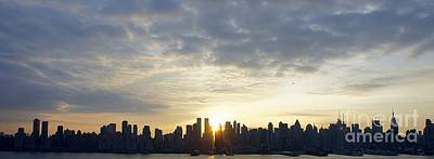 Nyc Sunrise Panorama Poster by Lilliana Mendez