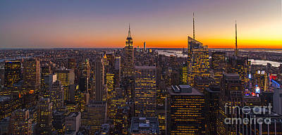 Nyc Top Of The Rock Sunset Poster by Mike Reid
