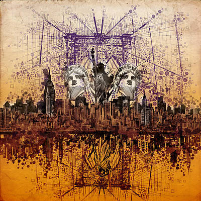 Nyc Tribute Skyline 6 Poster by Bekim Art