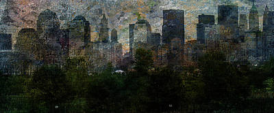 Poster featuring the digital art Nyc With Trees by Bruce Rolff